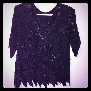 Vintage Mark & John II Sequin & Beaded Top